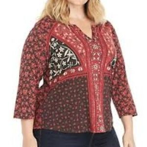 Lucky Brand Split Neck Mixed Red Floral Print Top